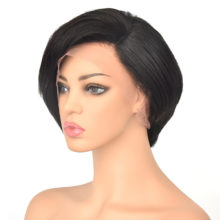 13x6 Lace Front Human Hair Short Bob Wigs Pixie Cut Ombre 1B 27 Blonde Black Straight For Women Brazilian Remy Hair 150% 4 Color