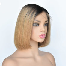 1B/27 Ombre Wigs Glueless Lace Front Short Bob Wigs Silky Straight Peruvian Human Remy Hair Wigs For Women 13x4 Lace Baby Hair