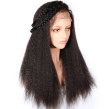 Kinky Straight Lace Front Human Hair Wigs For Women Black Color Remy Brazilian Lace Wigs Plucked With Baby Hair Full End Slove