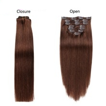 Alishow Clip In Human Hair Extensions Straight Full Head Set 7pcs 100g Machine Made Remy Hair Clip Ins 100% Human Hair Extension