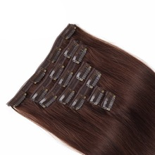 Alishow 14inch-20inch Clip In Human Hair Extensions 7pcs/Set 100g Dark Brown Double Weft Clip in Remy Hair Straight Full Head