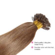 Rechoo 1g/strand Nail U Tip Pre-Bonded Keratin Glue Remy Natural Human Hair Extensions 100strands Real 100% Human Hair