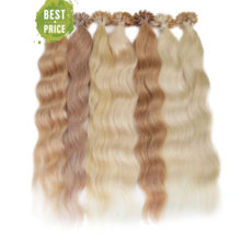 Neitsi Machine Made Remy Human Fusion Hair U Nail Tip Natural Wave Pred Bond Keratin Human Hair Extension 20