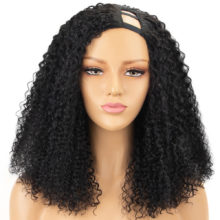 Curly U Part Wigs 150% Density Human Hair wigs For Black Women Left Part Brazilian Remy Hair Curly Wigs
