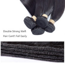 ALLRUN Brazilian Straight Hair Human Hair Bundles With 2*6 Closure Middle Part 4 Bundles with Closure Non Remy Hair Extension