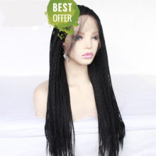 MRWIG Box Braided Braids Glueless Synthetic Front Lace Wig Baby Hair 26in  Black/Dark Brown Hair Color