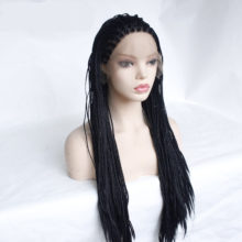 MRWIG Long Braided Box Braids Wig Black/Brown/Blonde Free Part Synthetic Front  Lace Wig for Woman