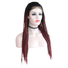 Charisma Synthetic Ombre Wig Lace Wig Long Two Twist Braids Hair Lace Front Wig For Black Women Red Wigs