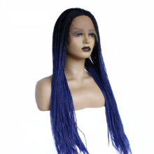 V'NICE Ombre Blue Synthetic Lace Front Braid Wig Heat Resistant 180% Density Braids Wig for Black Women African American Hair
