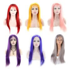 Ms Love Lace Front Human Hair Wigs Red Blue Grey Pink Purple Yellow Straight Hair Brazilian Frontal Wigs Remy 130% 150% Density