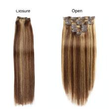 Clip In Human Hair Extensions Straight Full Head Set 7pcs 100g Machine Made Remy Hair Clip Ins 100% Human Hair Extension