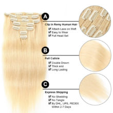 Double Drawn Clip In Human Hair Extensions Silky Straight Remy Hair 7pcs 100% Real Human Hair Clips Full Head 100g-160g