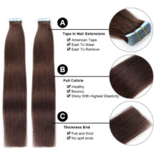 Tape In Human Hair Extensions Remy Hair 16inch-24inch 20pcs/pack Straight  PU Hair Natural Tape In Human Hair Skin Weft