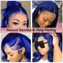 Colored Blue 13x6 Lace Front Wigs 30 Inch Glueless Human Hair Wig Transparent Lace Frontal Closure Wig 150 Density Dolago