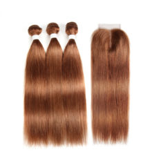 Brazilian Straight Human Hair Bundles With Closure KEMY HAIR 3PCS Brown Hair Weave Bundles With Closure Non-Remy Hair Extension