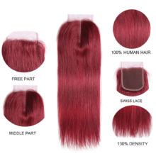 99J/Burgundy Human Hair Bundles With Closure 4x4 Red Color Brazilian Straight Hair Weave Bundles With Closure Non-Remy