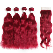 99J/Burgundy Human Hair Bundles With Closure 4x4 Non-Remy Red Color Brazilian Natural Wave Human Hair Bundles 3/4 PCS KEMY HAIR