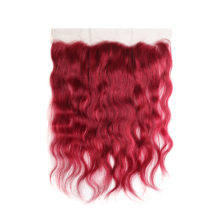 99J/Burgundy Brazilian Natural Wave Lace Frontal Closure Free/Middle Part 13*4 Swiss Lace Closure With Baby Hair Non- Remy Hair