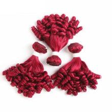 99J/Burgundy Red Color Human Hair Bundles With Closure Funmi Curly Brazilian Hair weave Bundles NonRemy Hair Extension KEMY HAIR