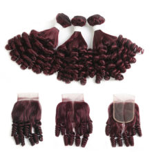 99J/Burgundy Brazilian Human Hair Bundles With Closure 4x4 Funmi Curly 3/4 Bundles With Closure Non-Remy Hair Weaves  KEMY HAIR