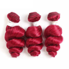 99J/Burgundy Red Color Human Hair Bundles KEMY HAIR 1PC Brazilian Loose Wave Hair Weave Bundles Non- Remy Human Hair Extension