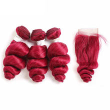 99J/Burgundy Loose Wave Bundles With Closure 4*4 KEMY HAIR Brazilian Human Hair 3/4 Bundles With Lace Closure NonRemy Hair Weave