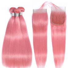 Queena Peruvian Straight Hair Pink Bundles With Closure Baby Hair Remy Dyed Pink Human Hair Weave 4*4 Lace Closure With Bundles