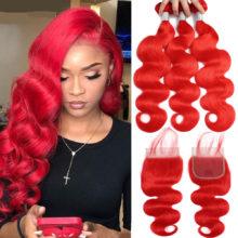 Queena Hair Red Bundles With Lace Closure Colored Body wave Human Hair Bundles With Closure Remy Brazilian Hair Weave Bundles