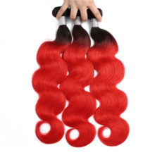 Aplus 1B/ Red Closure With Baby Hair Ombre Peruvian Body Wave Hair 3 Bundles With Closure Remy Human Hair Bundles With Closure