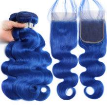 Aplus Blue Hair 3 Bundles With Closure Peruvian Two Tone Color Remy Hair Ombre Body Wave Bundles With Closure With Baby Hair