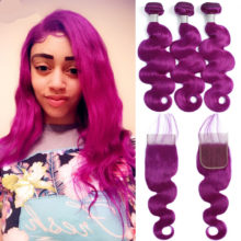 Aplus Purple Bundles With Closure Remy Peruvian Body Wave Ombre Pre Colored Bundles With Closure Pre Plucked With Baby Hair