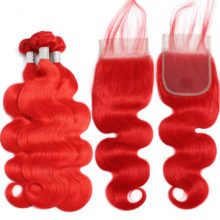 Aplus Hair Pre-Colored Brazilian Hair 3 Bundles With Closure Body Wave Remy Color Ombre Bundles With Closure 100% Human Hair