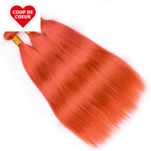 Pre-Colored Orange Hair Bundles With Closure Remy Brazilian Straight Hair Bundles With Lace Closure 4*4 100% Human Hair