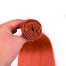 Ms Love Pre-Colored Orange Hair Bundles With Closure Remy Brazilian Straight Hair Bundles With Lace Closure 4*4 100% Human Hair