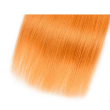 Ms Love Pre Colored #144 Orange Hair Bundles With Closure Straight 100% Human Hair Bundles With Closure 4*4 Remy Brazilian Hair