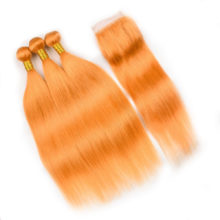 Pre Colored #144 Orange Hair Bundles With Closure Straight 100% Human Hair Bundles With Closure 4*4 Remy Brazilian Hair