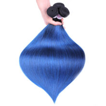 Blue Ombre Bundles With Closure Brazilian straight hair 2 3 Bundles With Closure Colored 1B/blue Human Hair Weave with closure