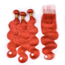 Ms Love Orange Body Wave Hair Bundles With Lace Closure Brazilian Hair With Closure Remy Human Hair Bundles