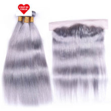 Ms Love Grey Bundles With Frontal Closure 13*4 Ear To Ear Lace Frontal Peruvian Straight Human Hair Bundles With Closure Remy