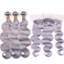 Ms Love Grey Bundles With Frontal Closure 13x4 Body Wave Grey Human Hair Bundles With Closure Pre Plucked Remy Peruvian Hair