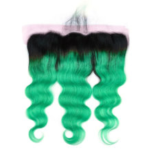 Ms Love Ombre Grey Blue Red Pink Purple Orange Green Burgundy Body Wave Lace Frontal Human Hair Closure Remy Peruvian Hair