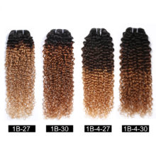 Spark Three Tone Ombre Brazilian Hair Kinky Curly Human Hair Bundles Extensions 10-26inch 1/3/4 Bundles Remy Hair Weave 1B/4/30