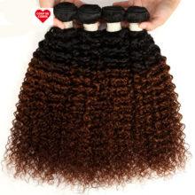 Ombre Peruvian Kinky Curly Bundles 3/4 Pcs Remy 100% Human Hair Bundles 2 Tone Color T1B/27# T1B/30# T1B/99J#