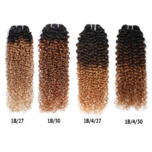 Spark Mongolian Kinky Curly Hair Bundles Remy Human Hair Extensions 1B/4/30&1B/27 Ombre Color 1/3/4 Bundles Kinky Curly Bundles