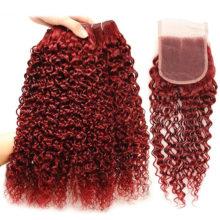 Mongolian Kinky Curly Hair 3 Human Hair Bundles With Closure Bold Red 99J Burgundy Bundles With Closure Shiningstar Hair Nonremy
