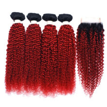 Mongolian Afro Kinky Curly Hair Weave Human Hair Red Bundles With Closure 4 Ombre Bundles With Closure 2 Tone Nonremy Dark Roots
